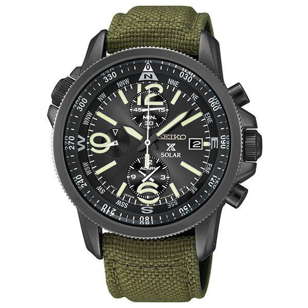 ยี่ห้อไหนดี  ประจวบคีรีขันธ์ SEIKO Prospex Solar Chronograph นาฬิกาข้อมือผู้ชาย สีดำ/สีเขียว สายผ้า รุ่น SSC295P1