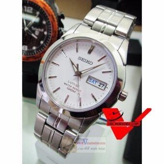 Seiko Sapphire glass นาฬิกาข้อมือชาย สายสแตนเลส รุ่น SGG713P1 - สีขาว