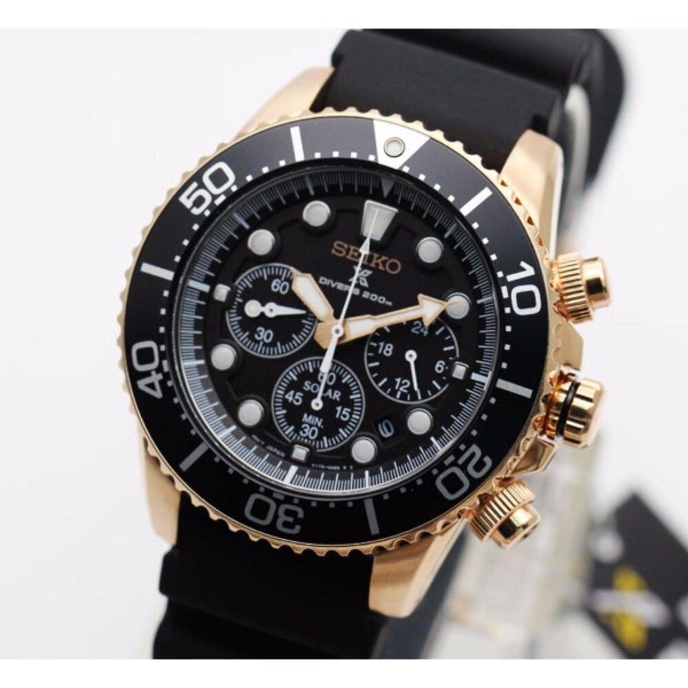 ยี่ห้อไหนดี  อุดรธานี นาฬิกา SEIKO SOLAR SPORT Chronograph Diver s 200 m. SSC618P1 pinkgold