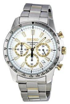 ประเทศไทย Seiko นาฬิกาข้อมือผู้ชาย สายสแตนเลส รุ่น SSB029 - Silver/White