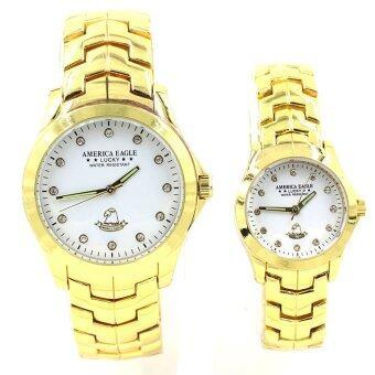 Sevenlight America Eagle นาฬิกาข้อมือคู่รัก - 9188-8127 (Gold/White)