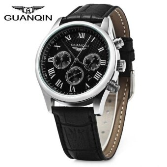 SH GUANQIN Men Leather Band Calendar Quartz Watch 10ATMWaterResistant with Three Moving Sub-dials Black - intl