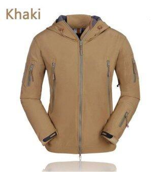 ซื้อ Shark skin soft shell V4.0 Technology wind rain multipurposeRaincoat professional Outdoor Ski-wear (Khaik)