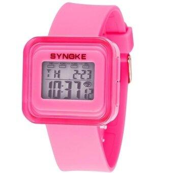 Silicone LED Light Digital Sport Wrist Watch Kid Girl Boy Pink - intl