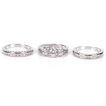 Silver Plated Ring Set Wedding Engagement Rings Party Jewelry Gift Type:6#