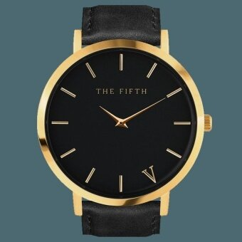 Simple Leather Quartz FIFTH Minimalist Style Black Gold Alloy Watch - intl