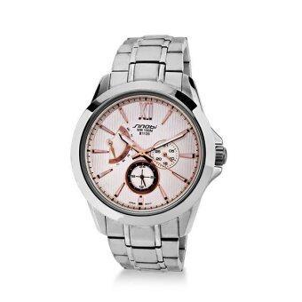 2561 Sinobi นาฬิกาข้อมือผู้ชาย สีชมพูอ่อน/เงิน สายสแตนเลส รุ่น Quito