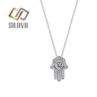Sivala Jewelry เครื่องประดับสร้อยคอเงินแท้ ลายโซ่รูปมือฮัมซา ประดับจี้เพชรสวิส CZ ตรงกลางหมุนได้NO.02 สีขาวสวยเป็นประกายดุจเพชรแท้