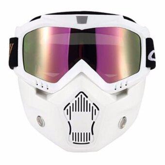Ski Bike Motorcycle Face Mask Goggles Motocross Motorbike Motor Open Face Detachable Goggle Helmets Vintage Glasses - intl