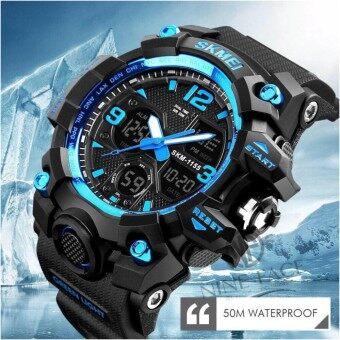 SKMEI 1155B  (จัดส่งในไทย ของแท้ 100% พร้อมกล่องครบเซ็ท) นาฬิกาข้อมือชาย  ดิจิตอล มัลติฟังชั่น สายเรซิน รุ่น SK1155B  (Blue)
