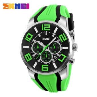 SKMEI 9128 นาฬิกาแฟชั่นผู้ชายสามมิติขนาดใหญ่กีฬาแฟชั่น 6-PIN เด็กสีเขียว