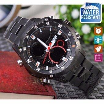 SKMEI นาฬิกาข้อมือผู้ชาย สไตล์ Casual Bussiness Watch ใช้ได้ทั้ง Digital และ Analog บอกวันที่ ตั้งปลุก จับเวลา กันน้ำ สายแสตนเลสสีเงิน รุ่น SK-M0006