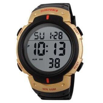SKMEI Fashion Men's Sport Waterproof Rubber Strap Wrist Watch - gold 1068 - intl