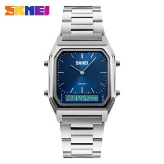 SKMEI Man Sport Watch Quartz Watches Fashion Casual Stainless Steel Strap Chronograph Waterproof 1220 - Blue - intl