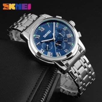 SKMEI Simple Fashion Mens Waterproof Retro Single CalendarBusiness Small Three-pin Quartz WatchBlue – intl
