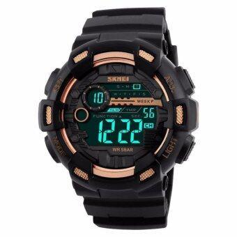 SKMEI นาฬิกาข้อมือผู้ชาย สไตล์ Sport Digital Watch ระบบ Digital บอกวันที่ ตั้งปลุก จับเวลา ไฟ LED กันน้ำ สายเรซิ่นสีดำ รุ่น SK-M1243 สีดำ (Black)