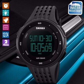 SKMEI นาฬิกาข้อมือผู้ชาย สไตล์ Sport Digital Watch บอกวันที่ ตั้งปลุก จับเวลา ตัวเลข LED ใหญ่ ชัดเจน กันน้ำ สายเรซิ่นสีดำ รุ่น SK-M1219 สีดำ (Black)