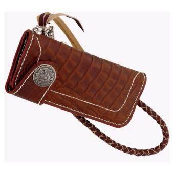 SN Collection กระเป๋าสตางค์หนังแท้ งานแฮนเมดเย็บมือแบบปราณีต ลายจระเข้ รุ่น NE005