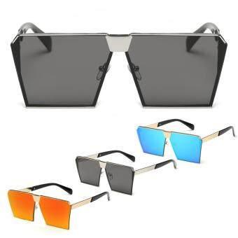 Square Lens Metal Frame Street Sunglass(Black) - intl