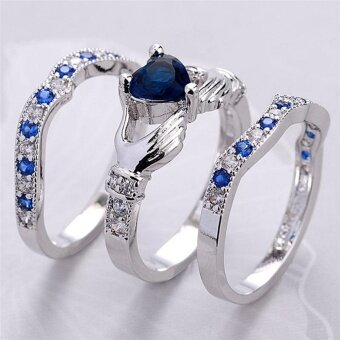 Stylish 3Pcs/Set Heart Cut Silver Plated Crystal Zircon Rings Wedding Rings Silver Type8#