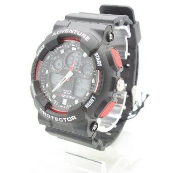 ประเทศไทย Submariner นาฬิกาข้อมือชาย สายยาง 2 ระบบ (เข็มและDigital) - SS20009 (Black-Red)