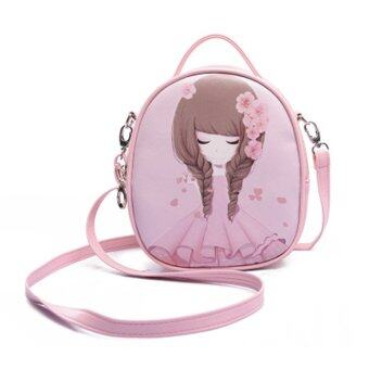 Summer travel gift bag girl children children Princess satchelbackpack shoulder bag---Pink-Peach blossom
