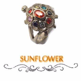 Sunflower Sunflower แหวน เต่า + พลอย นพเก้า ตัวเรือนทำจากนิเกิลไม่ดำ(...9 # 59)