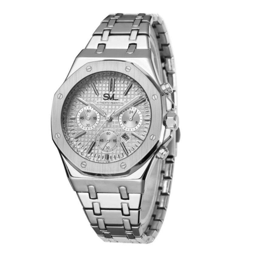 SVL นาฬิกาข้อมือผู้หญิง กันน้ำ 100% รุ่น GP80333-TR ( Silver-L) แถมซองนาฬิกาสุดหรู