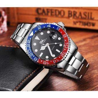 ประเทศไทย SVL Date Quartz นาฬิกาข้อมือผู้ชาย มีวันที่ กันน้ำ 100% รุ่น GP80329 (Blue/ Red) แถมซองนาฬิกาสุดหรู