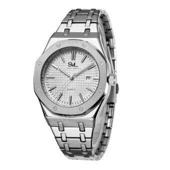 SVL Date Quartz นาฬิกาข้อมือผู้หญิง มีวันที่ กันน้ำ 100% รุ่น GP80333-P (Silver-L) แถมซองนาฬิกาสุดหรู