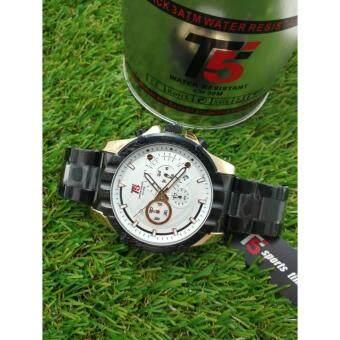 ซื้อ/ขาย T5 Chronograph Sports Watch นาฬิกาข้อมือผู้ชาย สายแสตนเลสแท้ ระบบโครโนกราฟ กันน้ำ100% วันที่-สัปดาห์ และเวลา 24Hr รุ่น H3388G (ดำทอง)