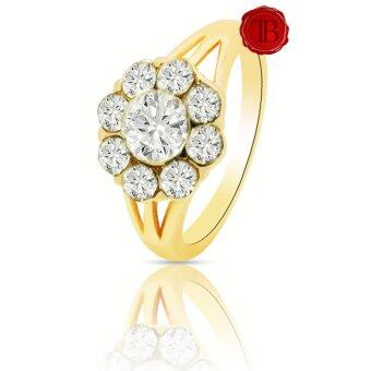 TB แหวนเพรช Swarovski 9 เม็ด Size 16 ( Yellow Gold Color )