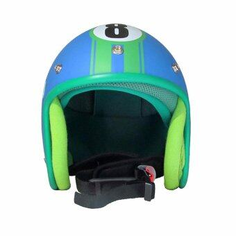 TESCO หมวกกันน็อกวินเทจเต็มใบสีฟ้า-เขียว
