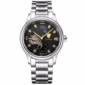 ประเทศไทย TEVISE นาฬิกาข้อมือผู้ชาย ระบบกลไกแบบออโตเมติก สไตส์คลาสสิกวินเทจ หรูหรา สายสแตนเลส หน้าปัดสีดำ