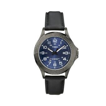 Timex นาฬิกาข้อมือผู้ชาย รุ่น Elevated Classics Gunmetal-Tone DressBlack Watch T2P392 (สีดำ)