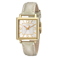 Timex Women's T2P379 Elevated Classics Gold-Tone Square Watch with Metallic Leather Band - Intl