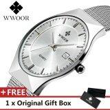 TOP Luxury ยี่ห้อ WWOOR นาฬิกาสแตนเลส Band QUARTZ นาฬิกาข้อมือผู้ชายสายบางพิเศษนาฬิกานาฬิกาแฟชั่นสีขาว