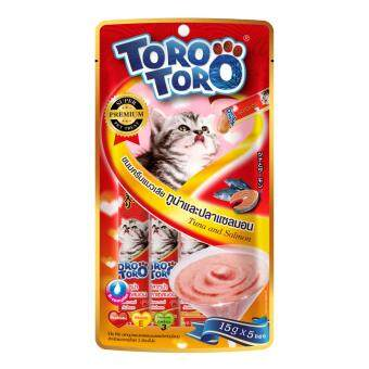 Toro Toro โทโร โทโร่ ขนมครีมแมวเลียปลาทูน่าและปลาแซลมอนผสมวิตามินรวม แพ็ค 12 (15 g. x 5 ซอง)