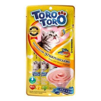 Toro Toro โทโร โทโร่ ขนมครีมแมวเลียปลาทูน่าและทะเลรวมมิตรผสมไลซีน แพ็ค 12 (15 g. x 5 ซอง)
