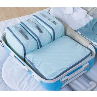 Travel Luggage Organizer Bags 4 pcs/Set Large Capacity Waterproof Travel Packing Clothes Shoes Organizer Bags Fashion Zipper Packing Organizer-Blue - intl