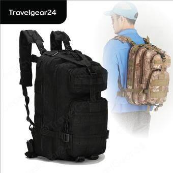 TravelGear24 กระเป๋าเป้เดินป่า เป้สะพายหลัง 3P Tactical BackpackBag 25L (Black/สีดำ )