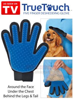 ทรูทัช ถุงมือแปรงขนแมว True Touch Five Finger Deshedding Glove (สีน้ำเงิน) พร้อมไฟ LED แบบ Usb 1ชิ้น (image 1)