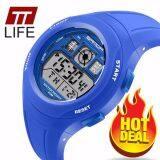 TTLIFE Ttlife ใหม่นักเรียนโรงเรียนประถมศึกษา SANDA 331 นาฬิกากีฬาสีกันน้ำ (เข้มสีฟ้า)