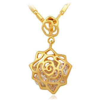 ราคา U7 Trendy New Pendant Necklace 18K Real Gold Plated Top QualityCubic Zirconia Gift For Women