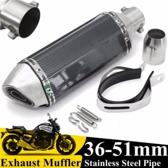 Universal 36-51mm Motorcycle Carbon Fiber Exhaust Muffler Pipe w/Removable Silencer GP - intl