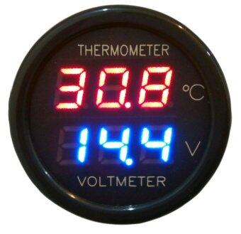 Unlimit - 2 in 1 ที่วัดโวลท์ วัดอุณหภูมิในรถ เสียบช่องจ่ายไฟรถ -Black