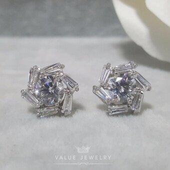 Value Jewelry ต่างหูแฟชั่นประดับเพชร CZ รุ่น ER1028 (White gold plated)