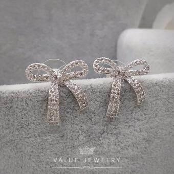 Value Jewelry ต่างหูแฟชั่นประดับเพชร CZ รุ่น ER1106 (White goldplated)