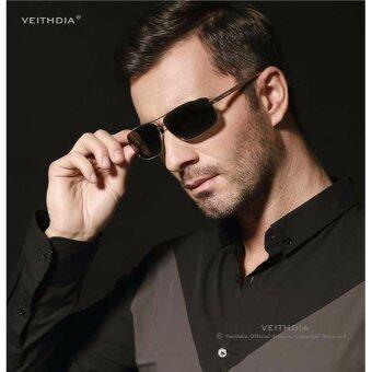 VEITHDIA 2458 ชายแว่นกันแดดโพลาไรซ์สีดำกรอบสีเทาเลนส์ (image 1)