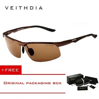 VEITHDIA Aluminum Magnesium Polarized Sunglasses Men Sports Sunglasses Night Driving Mirror Male Eyewear Accessories Goggle Oculos6502( Brown) - intl